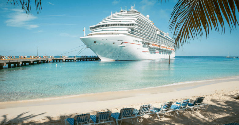 View of a docked cruise ship