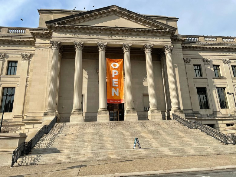 Outside view of Franklin institute philly family fun guide