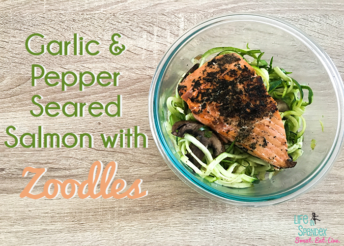 garlic and pepper seared salmon with zoodles