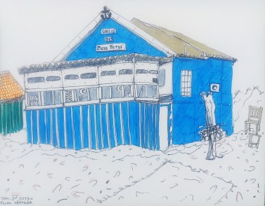 Drawing of blue seaside hut in Lisbon