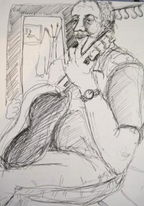 Pen drawing of guitar player in a wine bar in Prague