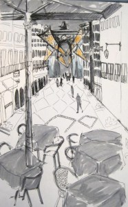 Pen drawing of Rua Augusta in Lisbon looking down with a strong perspective towards the arch. There are tables in the foreground, shops of the lower levels and people in the pedestrian street