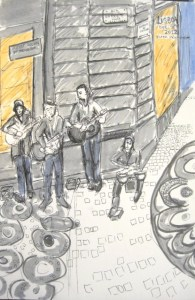 Drawing of 4 musicians playing a on a street corner in the city centre in Lisbon. There are tree guitarists and one drummer seated on the ornate street cobbles