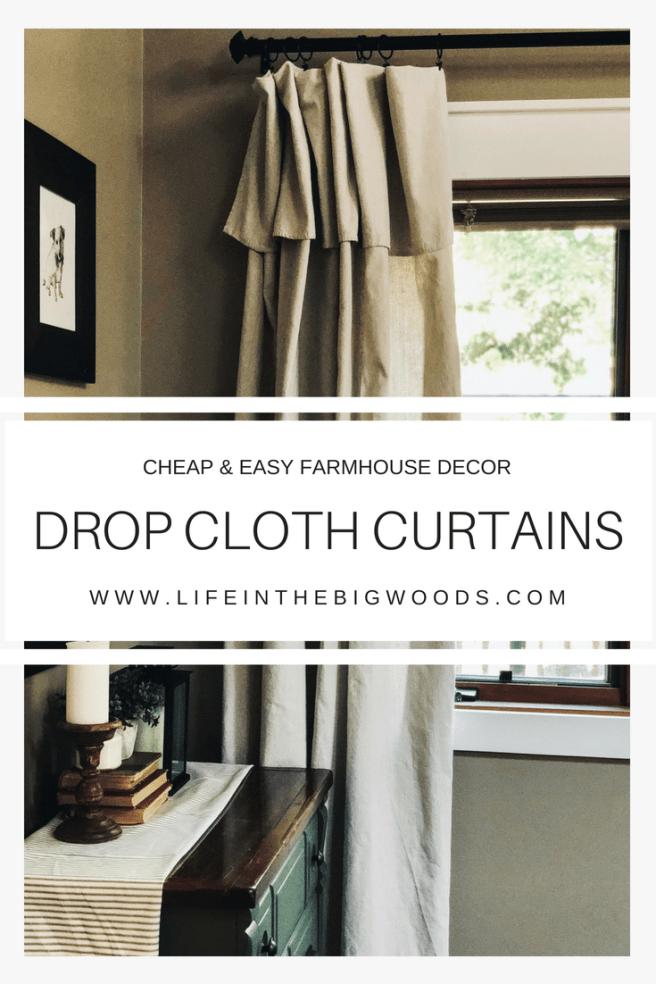 Cheap Easy Farmhouse Decor Drop Cloth Curtains