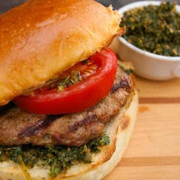 Lamb Burger with Mint Pesto
