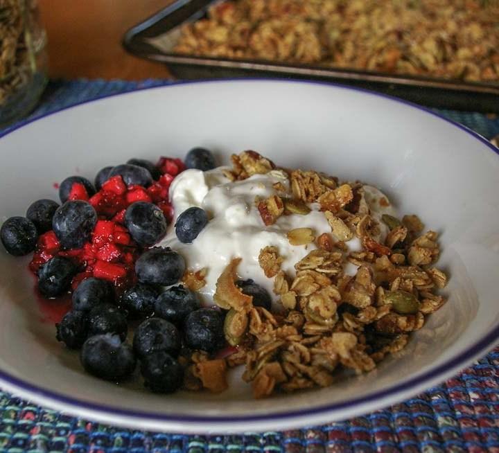 bowl of granola with yogurt