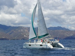 Snowcat under sail in St. Lucia