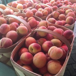 baskets of farmers market peaches