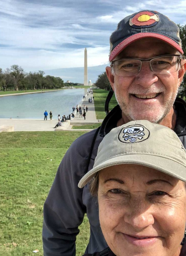 Dean and Karen selfie with the Washington Monument
