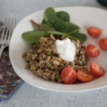Rice and Lentils with Tangy Yogurt Sauce