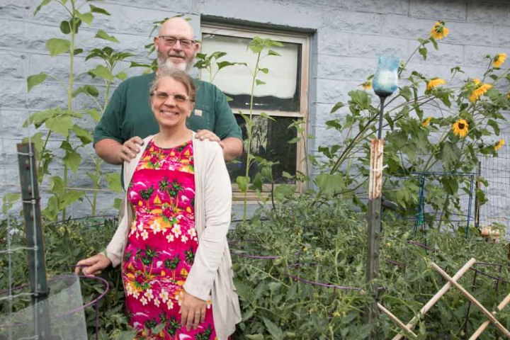 CSU Master Gardener Festus Hagins and his wife Sarah in their garden.