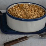 Baked Peach Oatmeal right out of the oven