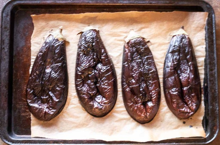 baked eggplants just removed from the oven