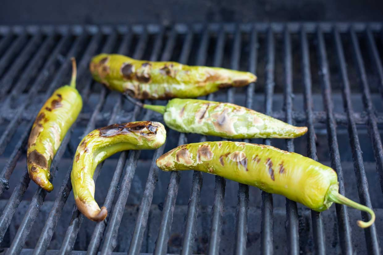 roasted chiles on the grill