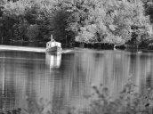 boat b&w Oswego River Fulton