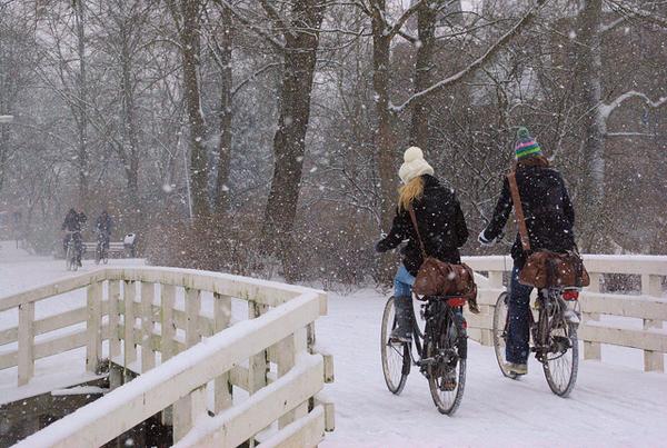 Fietsen in de sneeuw