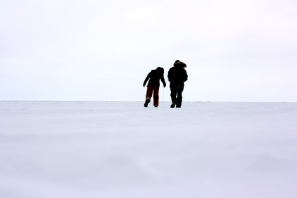 Andy and I continue measuring and recording how deep the snow is at our first site.