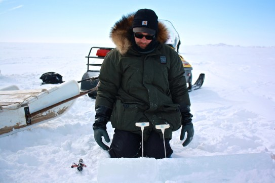 Andy Juhl records the temperature of the ice every 10cm the length of the core.