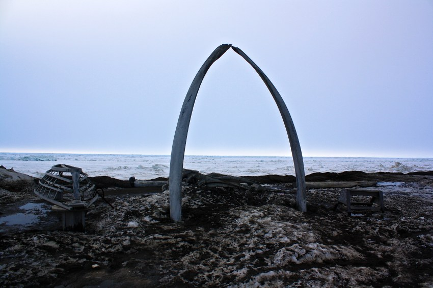 A whalebone arch in the center of Barrow.