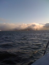 Sailing into the fog bank in San Francisco Bay.  We could hardly see the Golden Gate when we were directly under it.