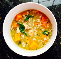 Simple soup:  Water, chicken, sweet potato, spinach, rice