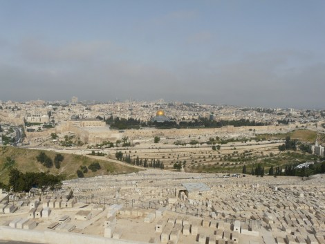 Looking at the Temple Mount from the Mount of Olives - Everything in the picture until the wall in the top third is tombs (Jewish, Islamic and Christian).  Beyond that are the ruins of Temple Mount and the City of David (to the left).  Are we looking for the living among the dead?