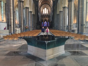 This is the amazing baptismal font at Salisbury Cathedral in Salisbury, England.