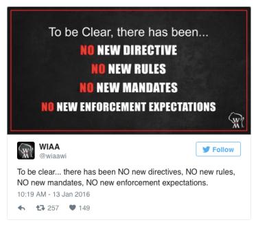 WIAA no new rules