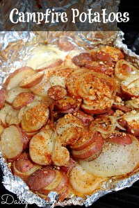 Camping Meals for Dinner and Dessert at LifeInTheNerddom.com - Campfire Potatoes Courtesy of Daily Leisure