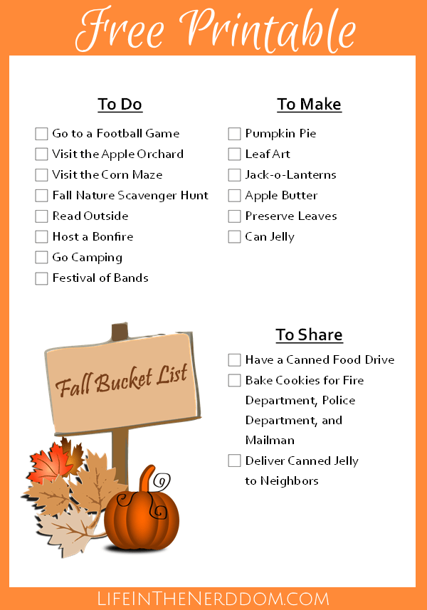Printable Fall Bucket List at LifeInTheNerddom.com