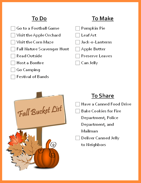 Fall Bucket List Printable at LifeInTheNerddom.com