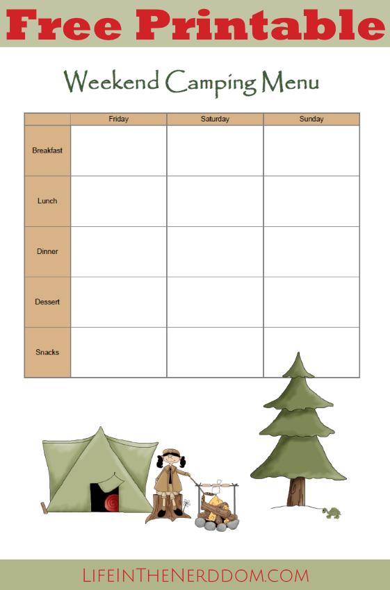 free printable camping menu planner