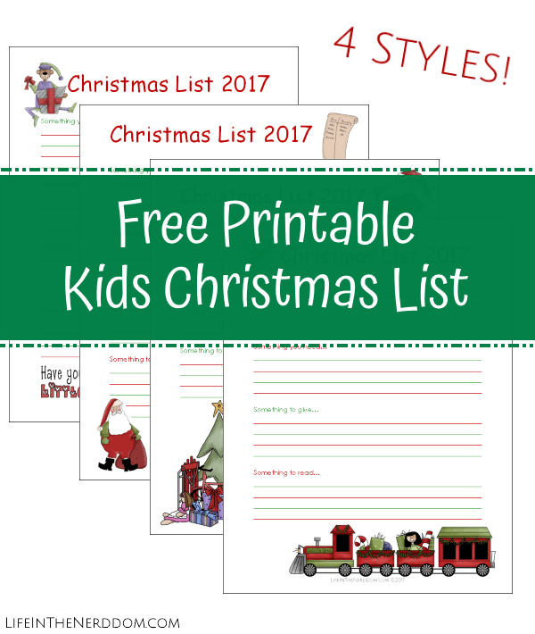 Printable Christmas List At LifeInTheNerddom.com  Free Printable Christmas Lists