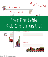 Printable Christmas List at LifeInTheNerddom.com