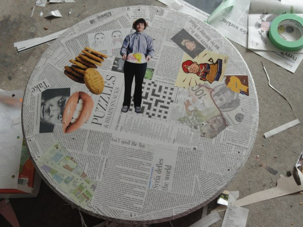 Table with Newspaper On It