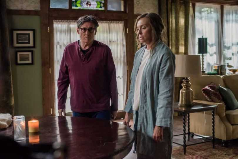 Gabriel Byrne and Toni Collette struggle with the candle light option.