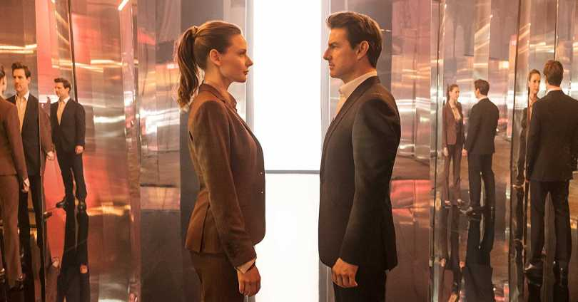 Rebecca Fergusson and Tom Cruise face off.