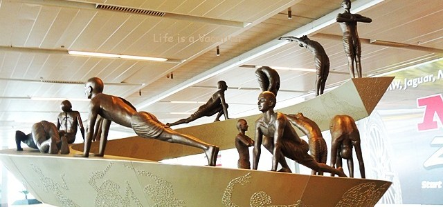 Sun Salutation or Surya Namaskar in Delhi Airport
