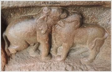 Badami Caves Cave 1 Gaja Vrushabha Elephant and Boar