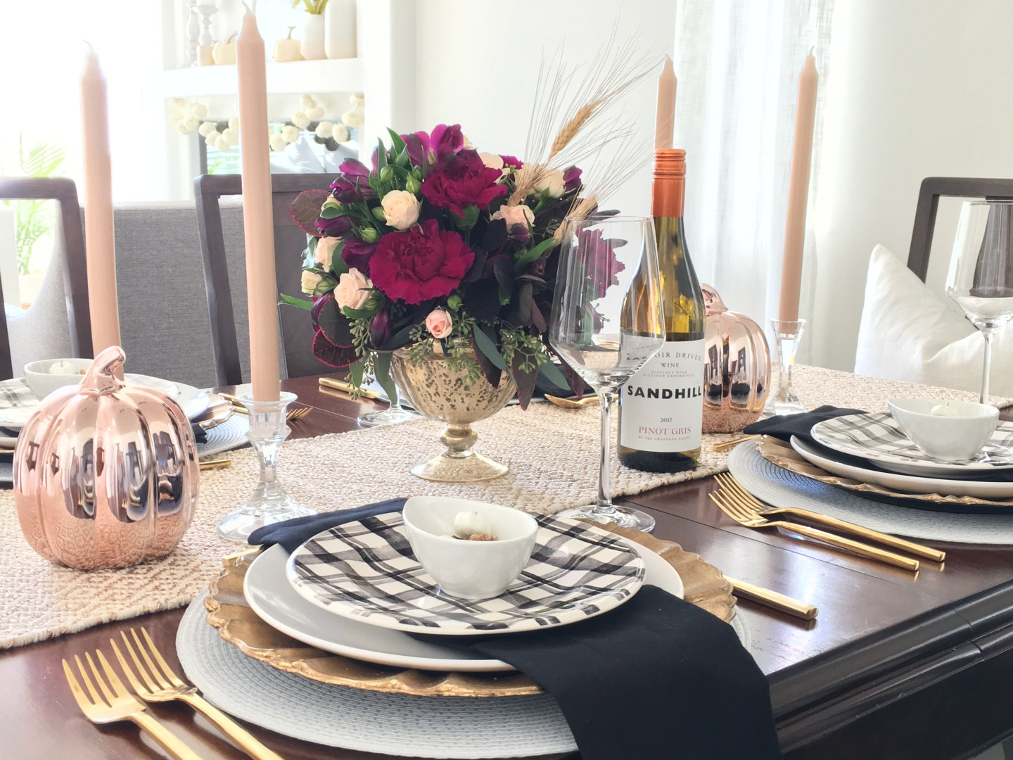 Elegant Thanksgiving Table Using Mixed Metals