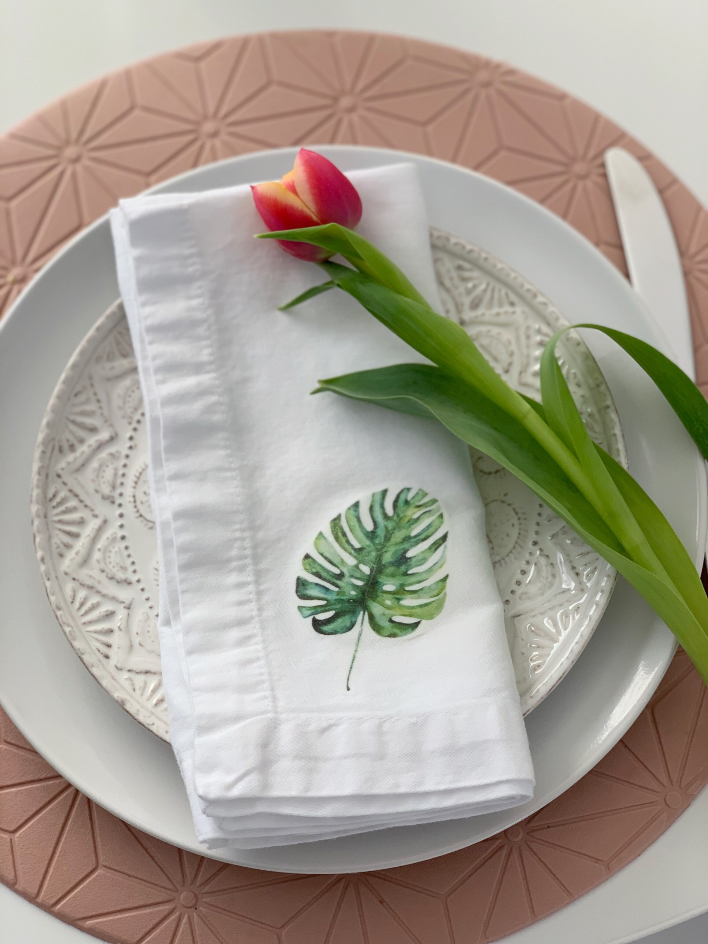 DIY Monstera Iron-on Napkins