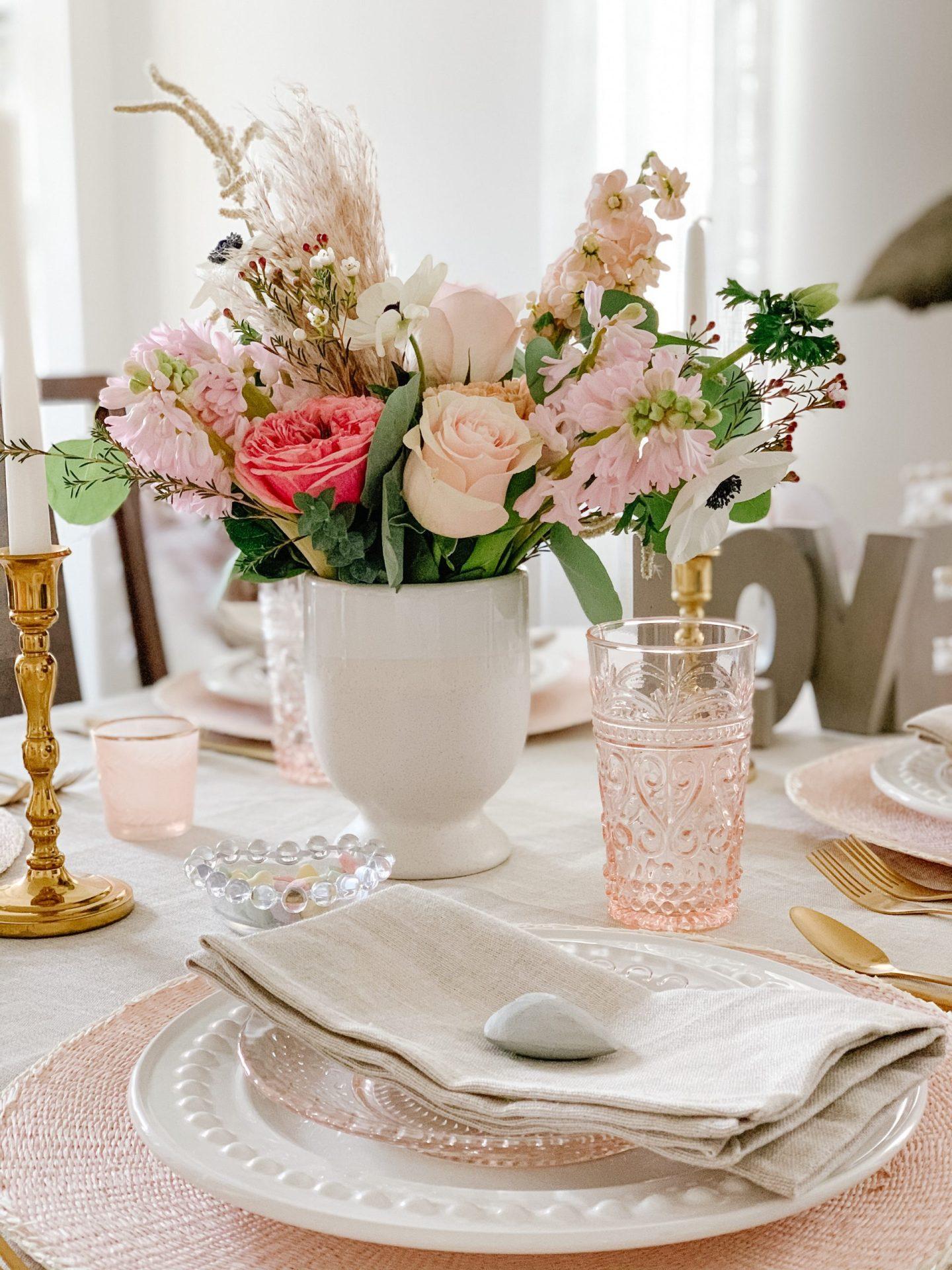 Romantic Boho Valentine's Tablescape