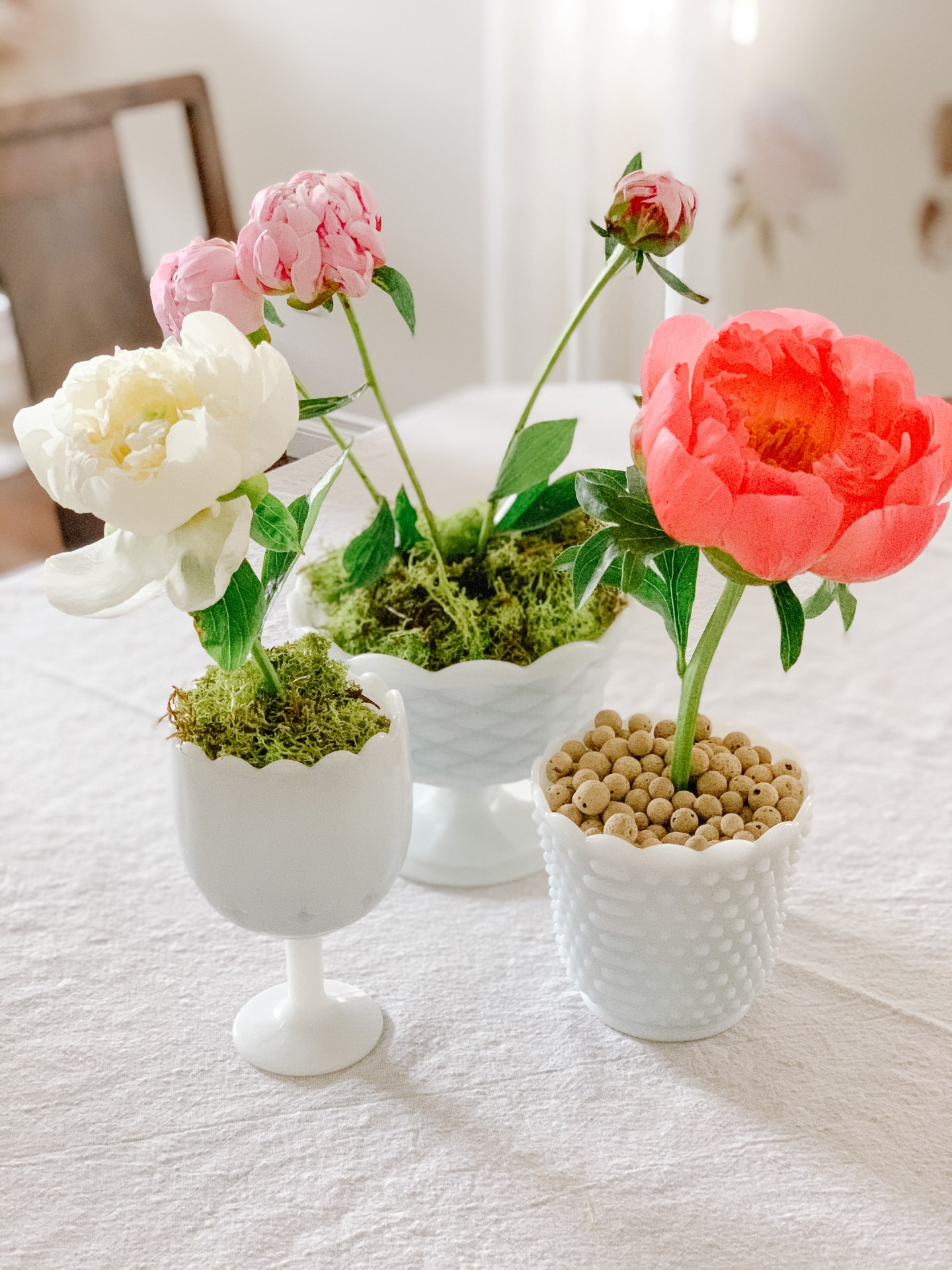 DIY Potted Peonies in Milk Glass