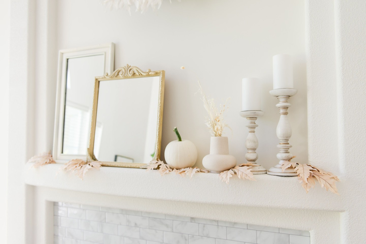 Elegant fall mantel with neutral accents