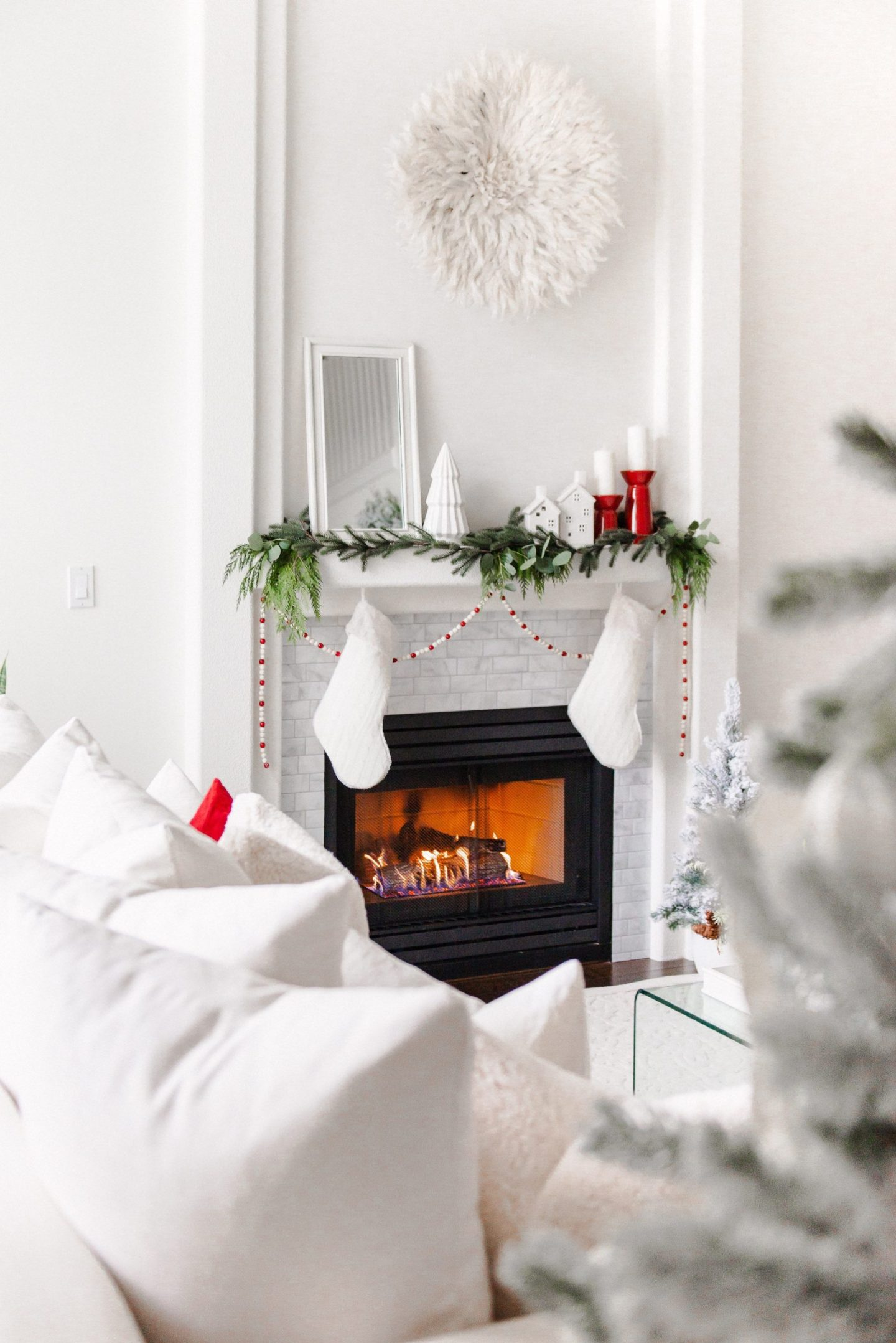 My Classic Christmas Mantel with White and Red