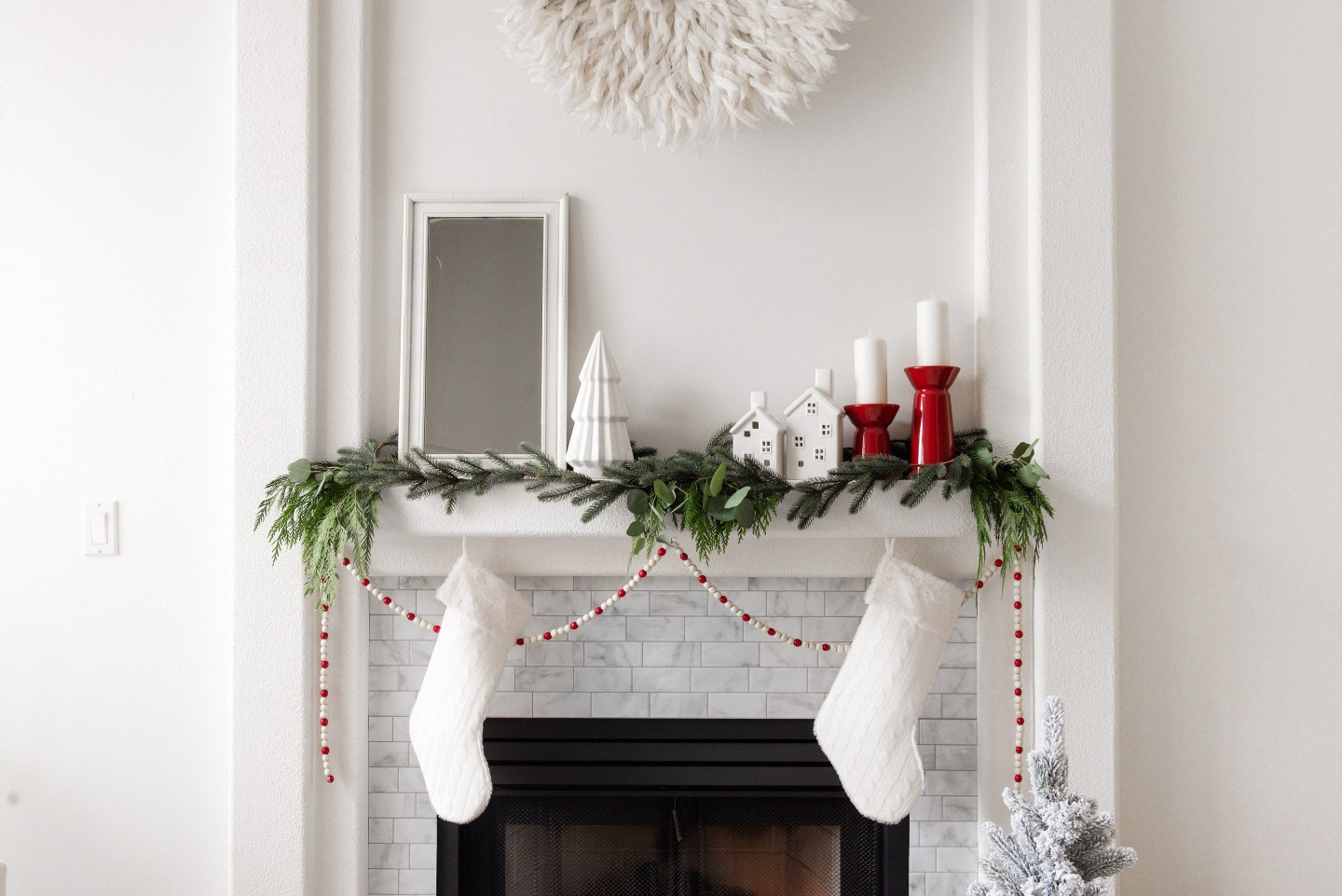 Classic Christmas Mantel with White and Red