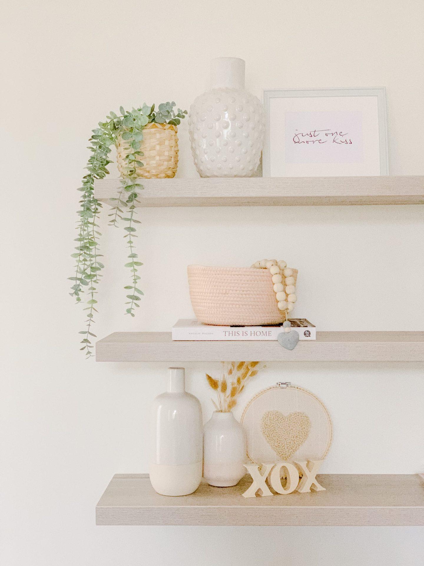 Subtle Valentine's Day Shelf Decorating Ideas