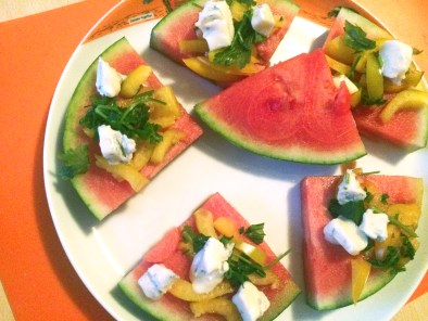 Watermelon and blue cheese. unexpectedly best friends