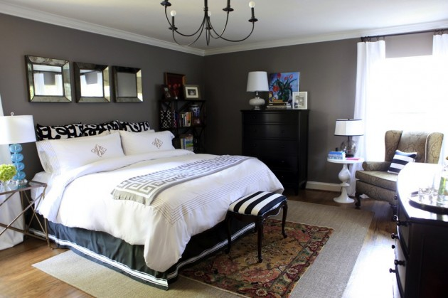 Bedroom-decorating-painted-charcoal-gray-walls0white