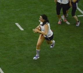 Attempting a touchdown run